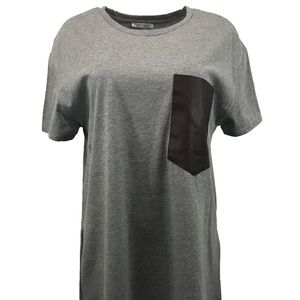 ZARA Women Short Sleeve Faux leather Pocket Tunic